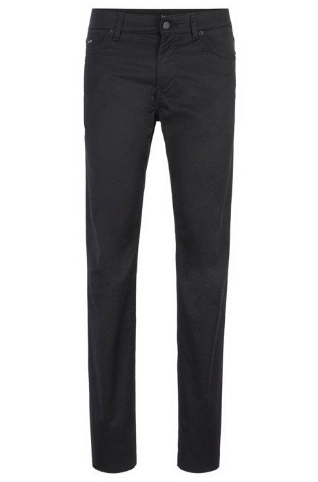 Regular-fit jeans in washed stretch denim, Black