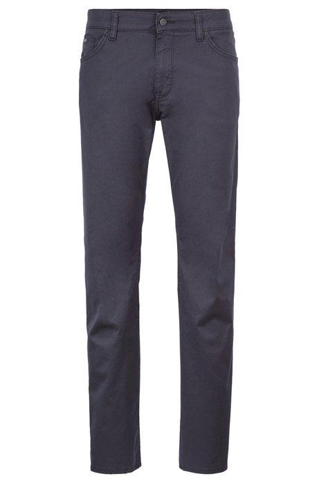 Regular-fit jeans in washed stretch denim, Dark Blue