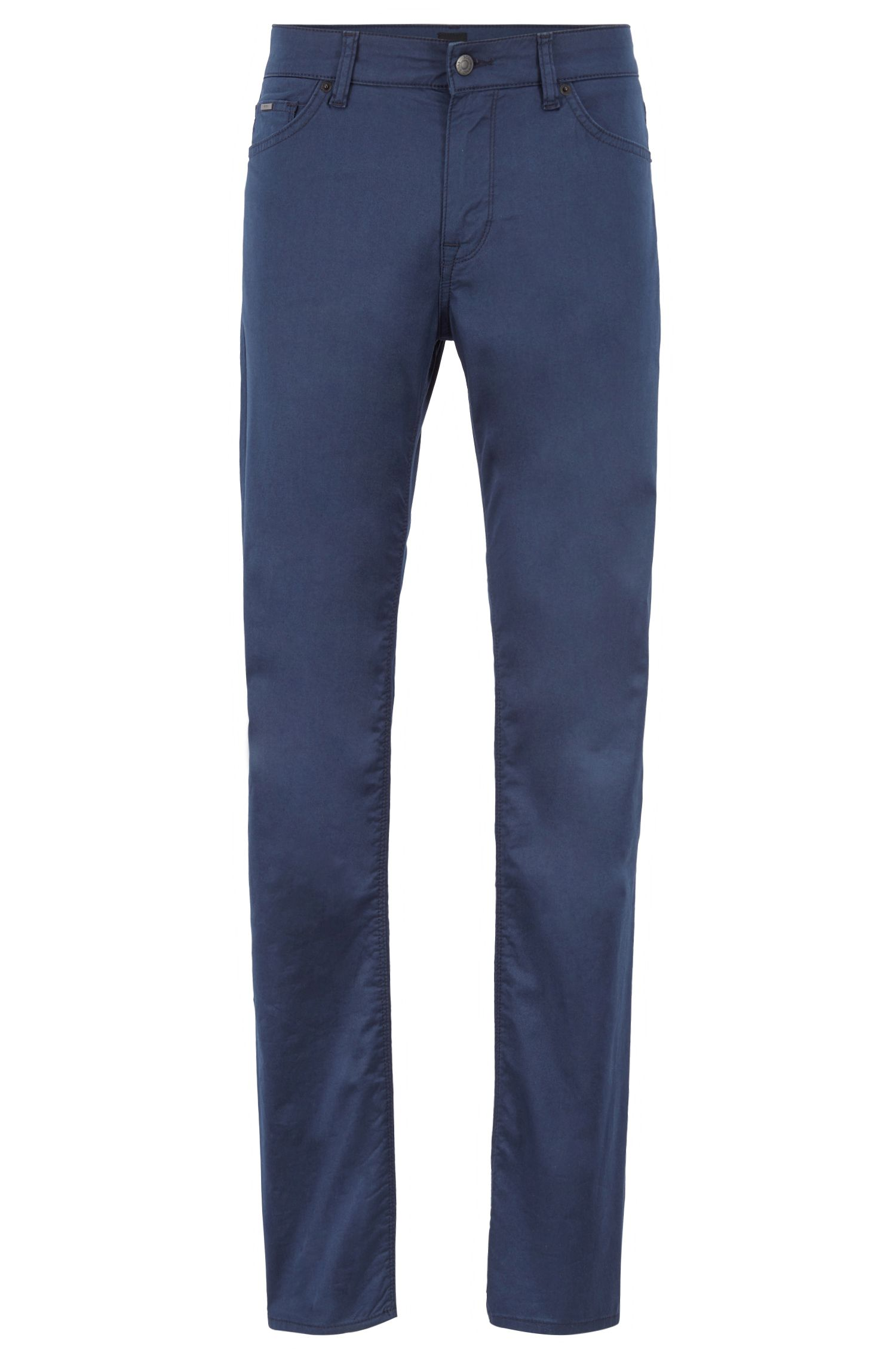 Regular-fit jeans in washed stretch denim, Dark Blue