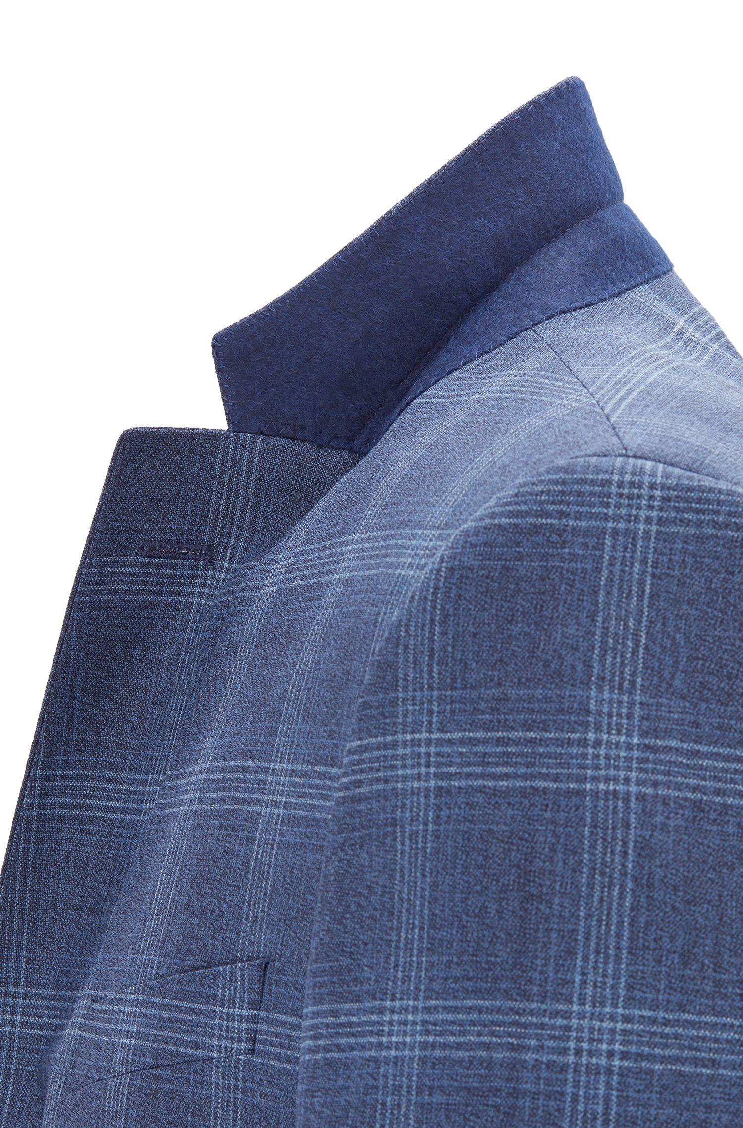 Slim-fit suit in checkered virgin wool, Open Blue