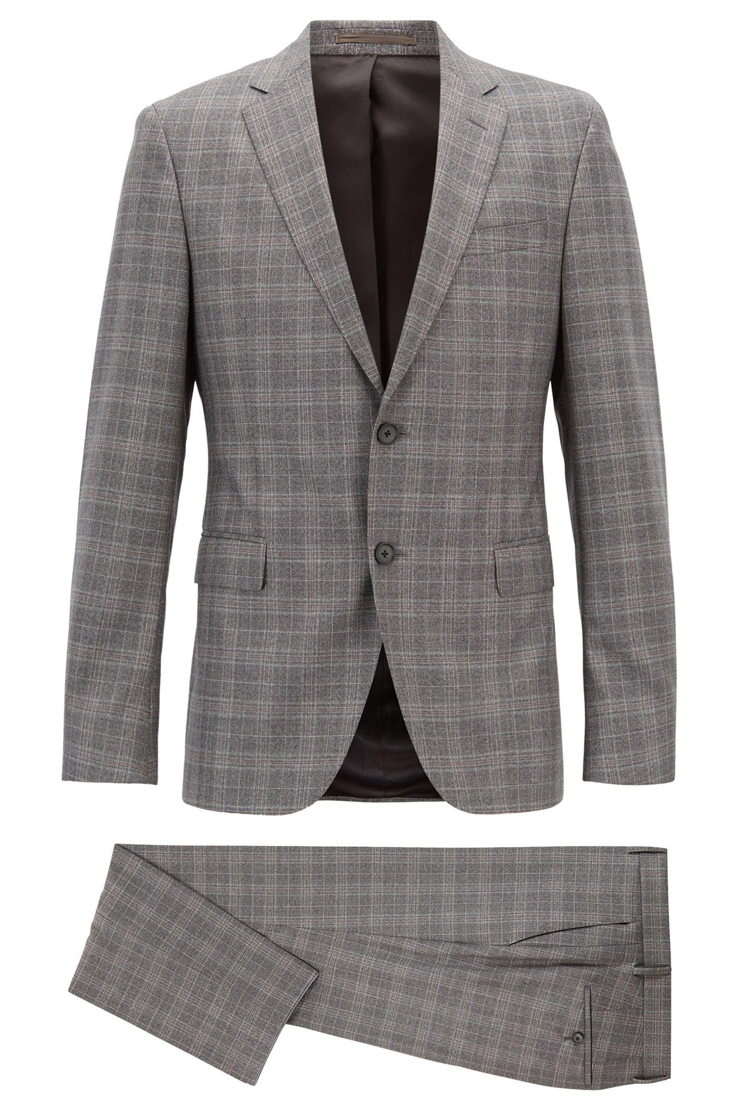 Slim-fit suit in checked virgin wool serge, Open Grey
