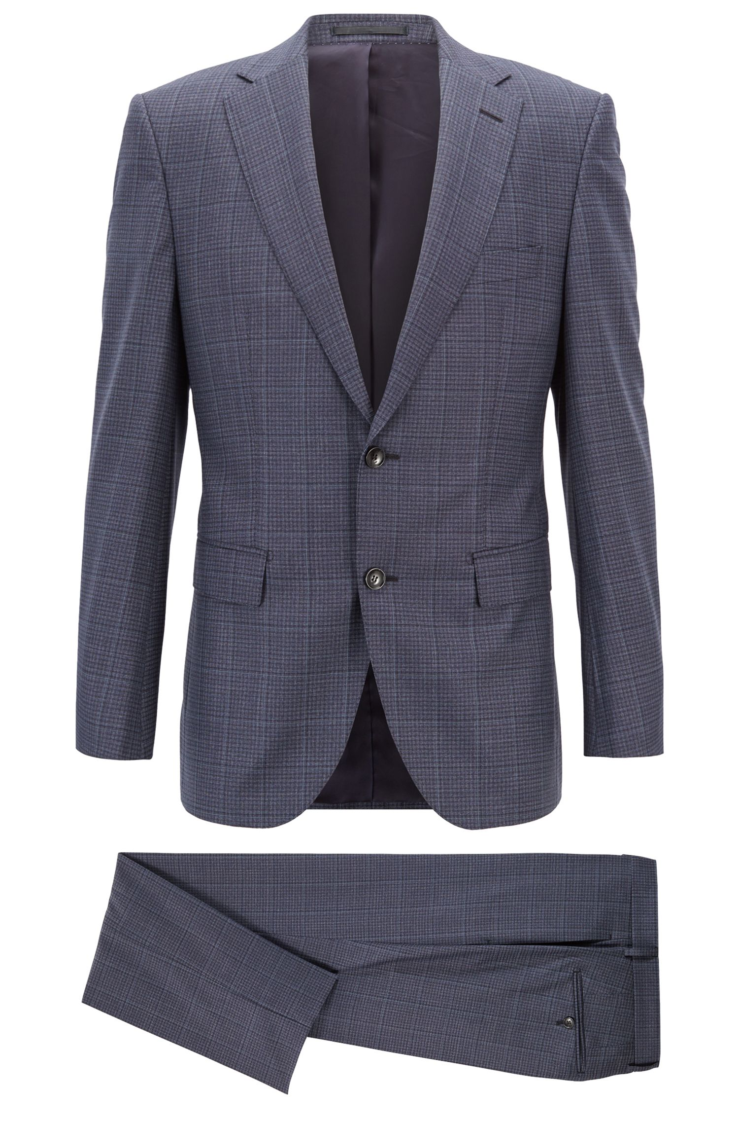 Tailored regular-fit suit in checkered virgin wool, Dark Blue