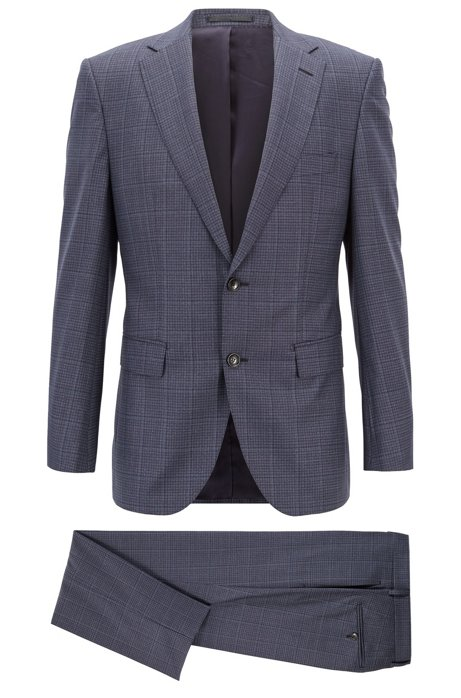 ebd4206d6 BOSS - Tailored regular-fit suit in checkered virgin wool