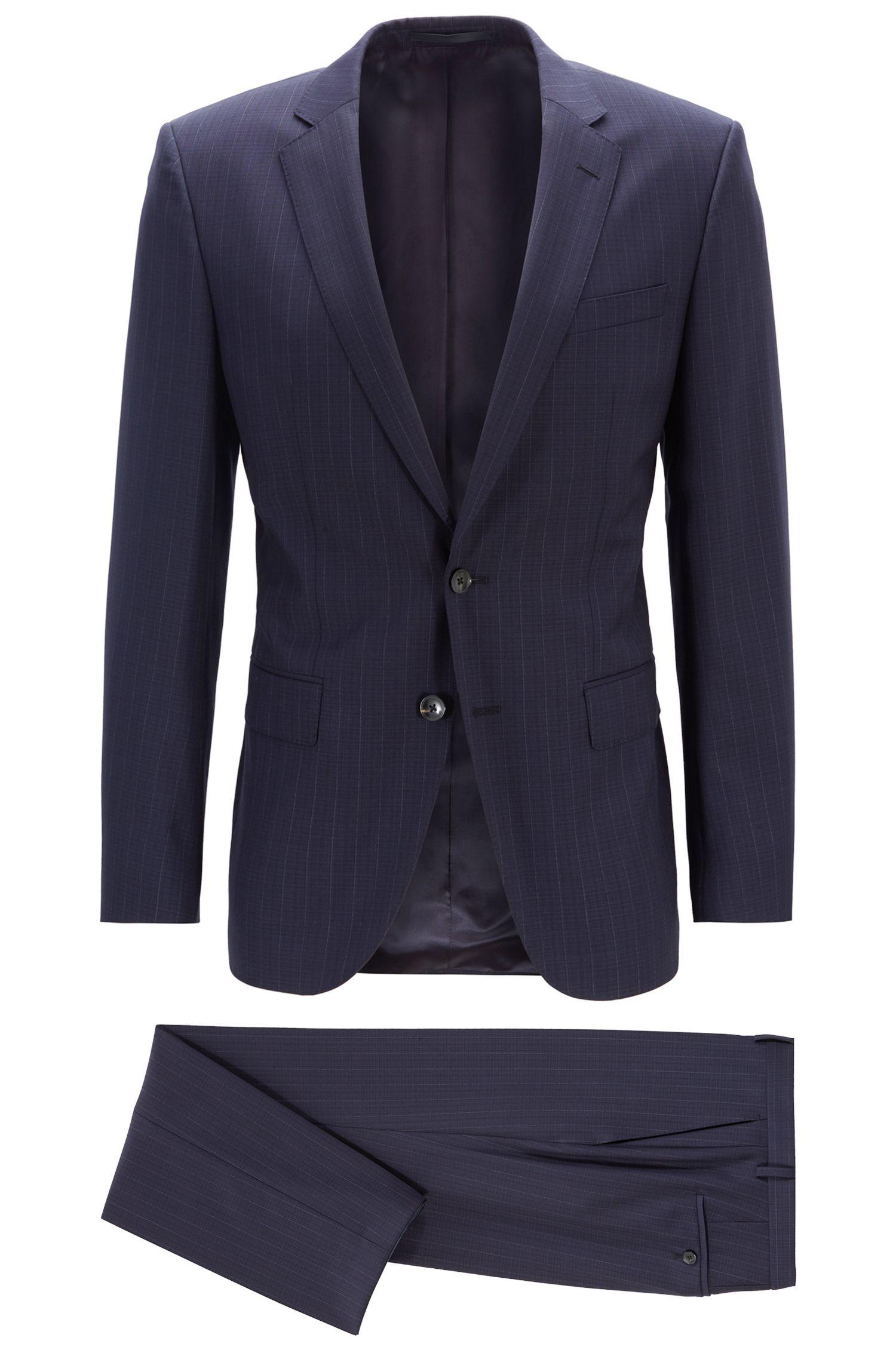 Slim-fit suit in vertical-striped virgin wool, Dark Blue
