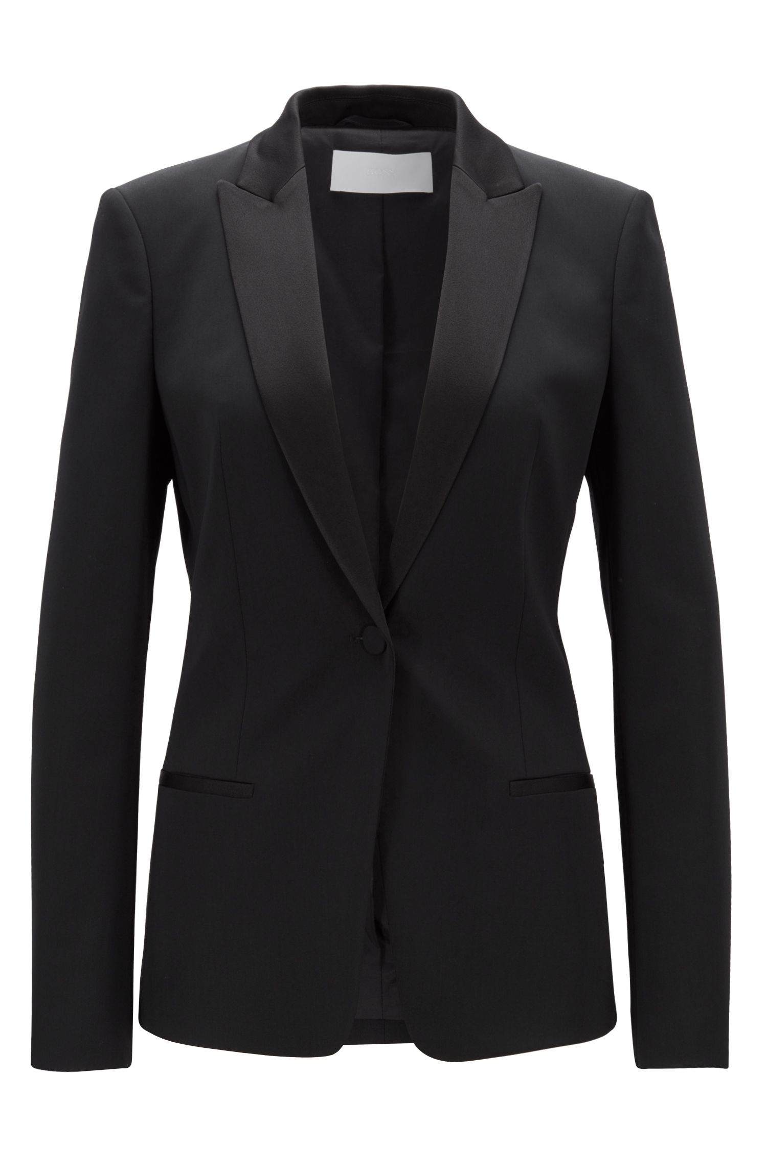 Regular-fit blazer with satin collar and lapels, Black