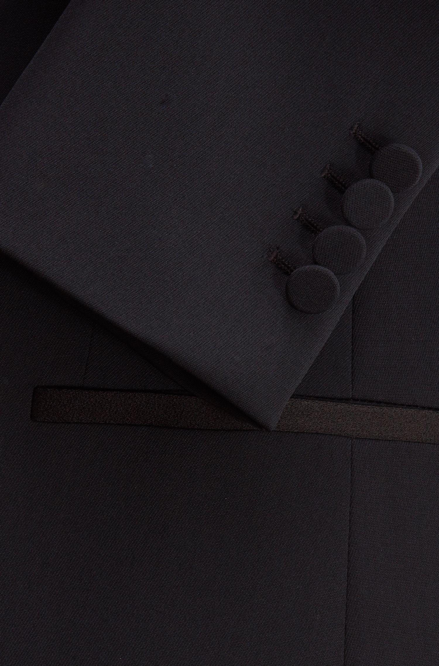 Regular-fit blazer with satin collar and lapels, Black