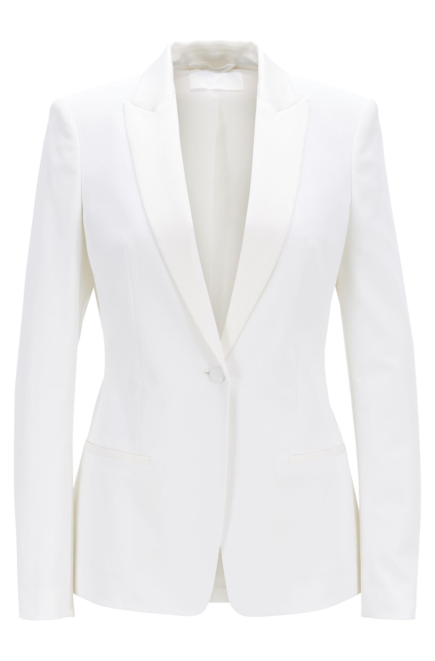 Regular-fit blazer with satin collar and lapels, Natural