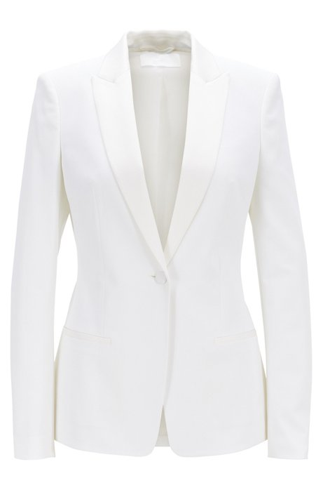 Regular-fit blazer with satin collar and lapels, Natural