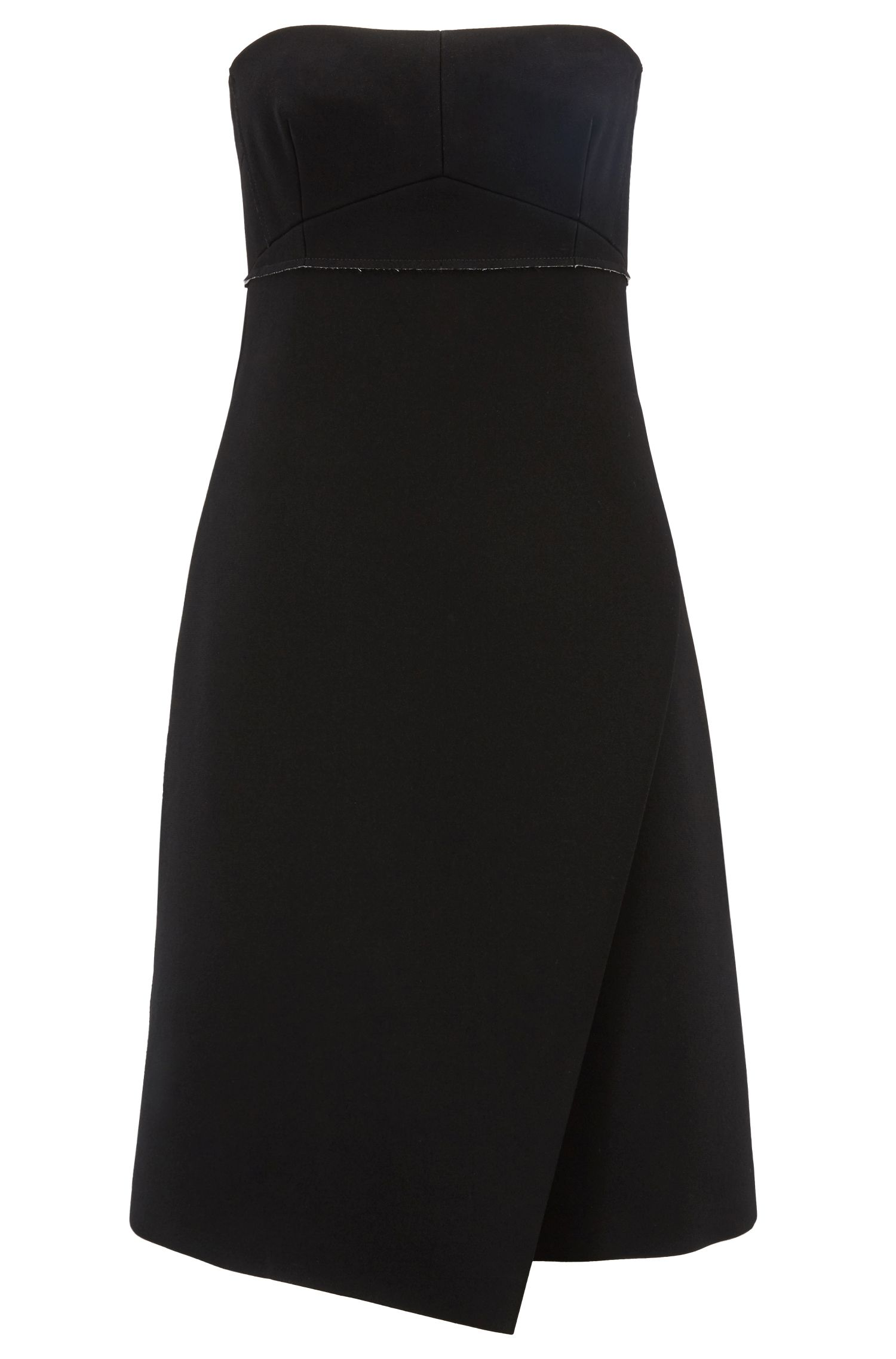 Slim-fit strapless dress in Japanese bonded crepe, Patterned