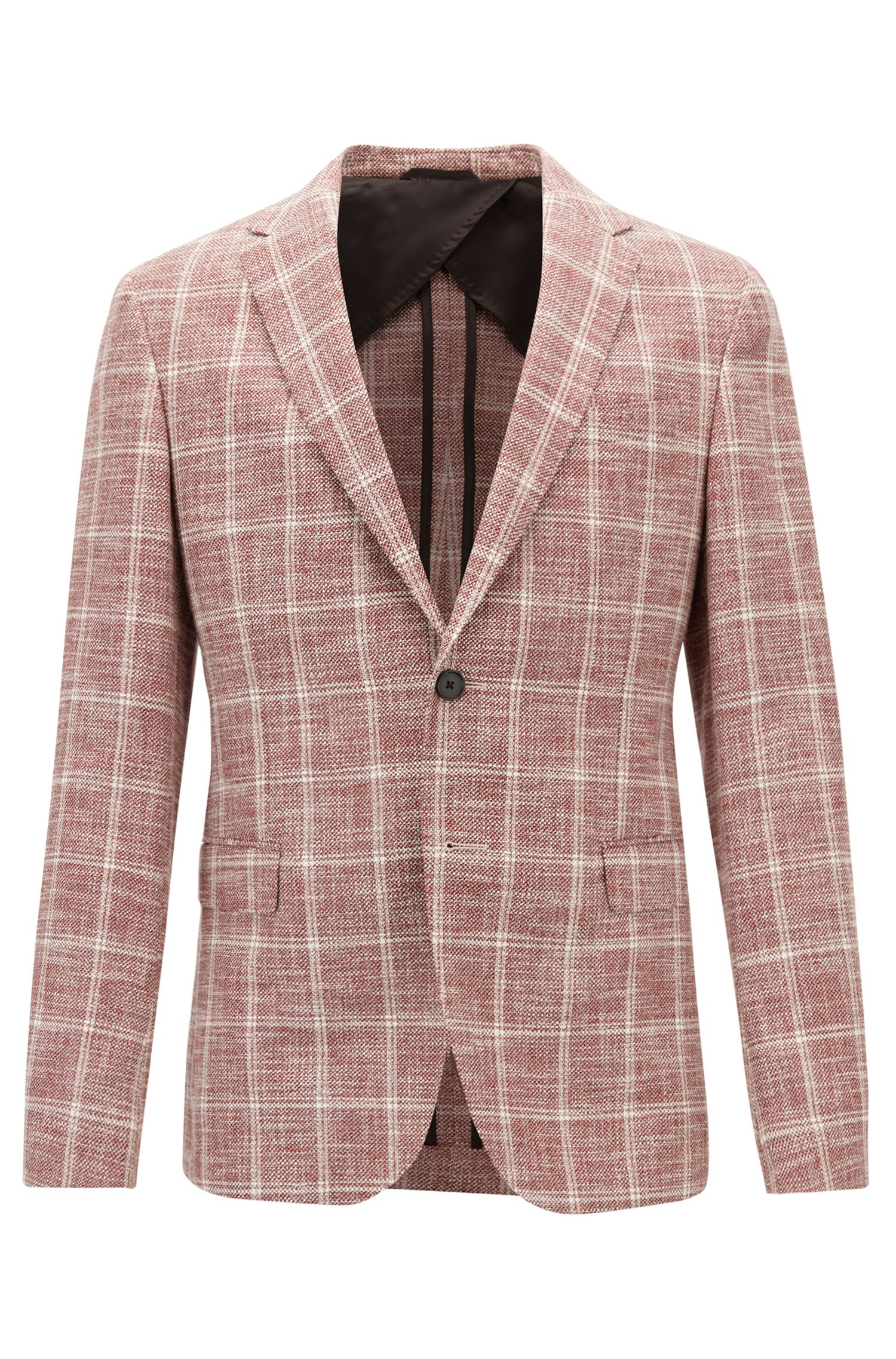 Slim-fit jacket in checked fabric with AMF stitching, Dark Red