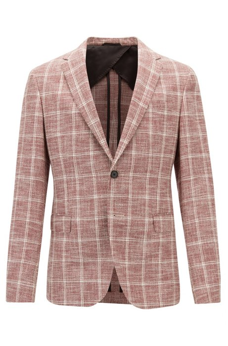 9f48b814d BOSS - Slim-fit jacket in checked fabric with AMF stitching