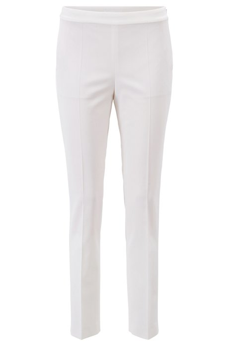 High-waisted suit pants with satin trims, Natural