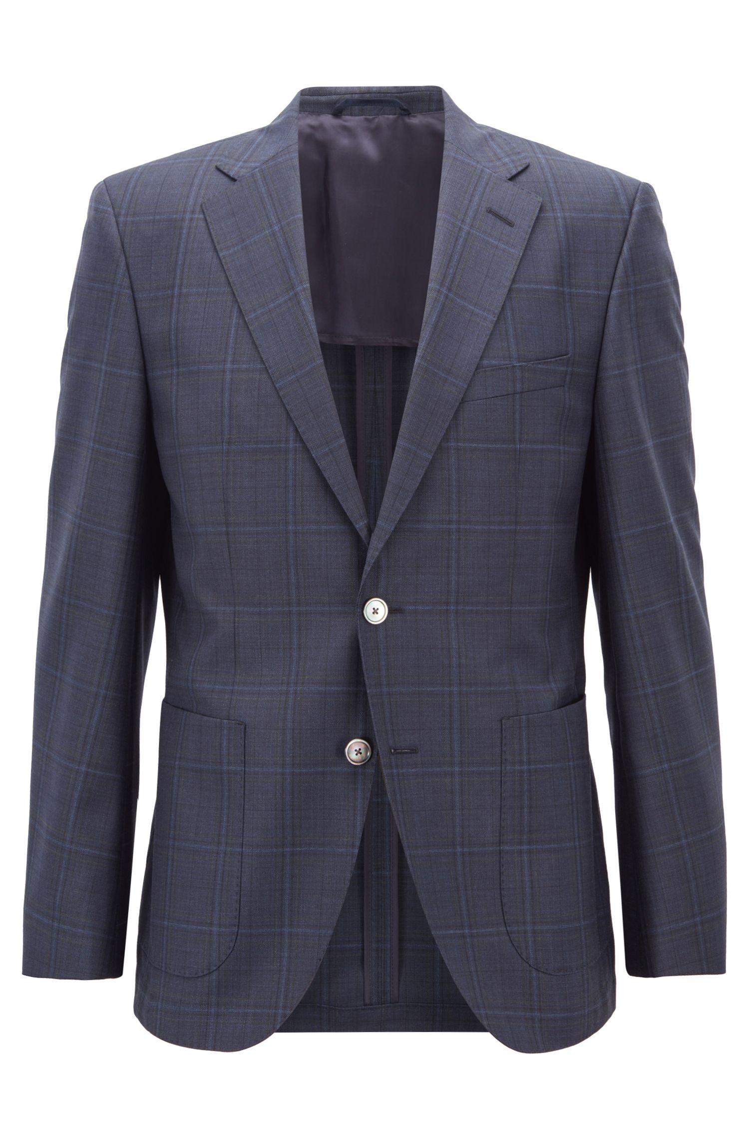 Regular-fit jacket in checked virgin wool serge, Dark Blue