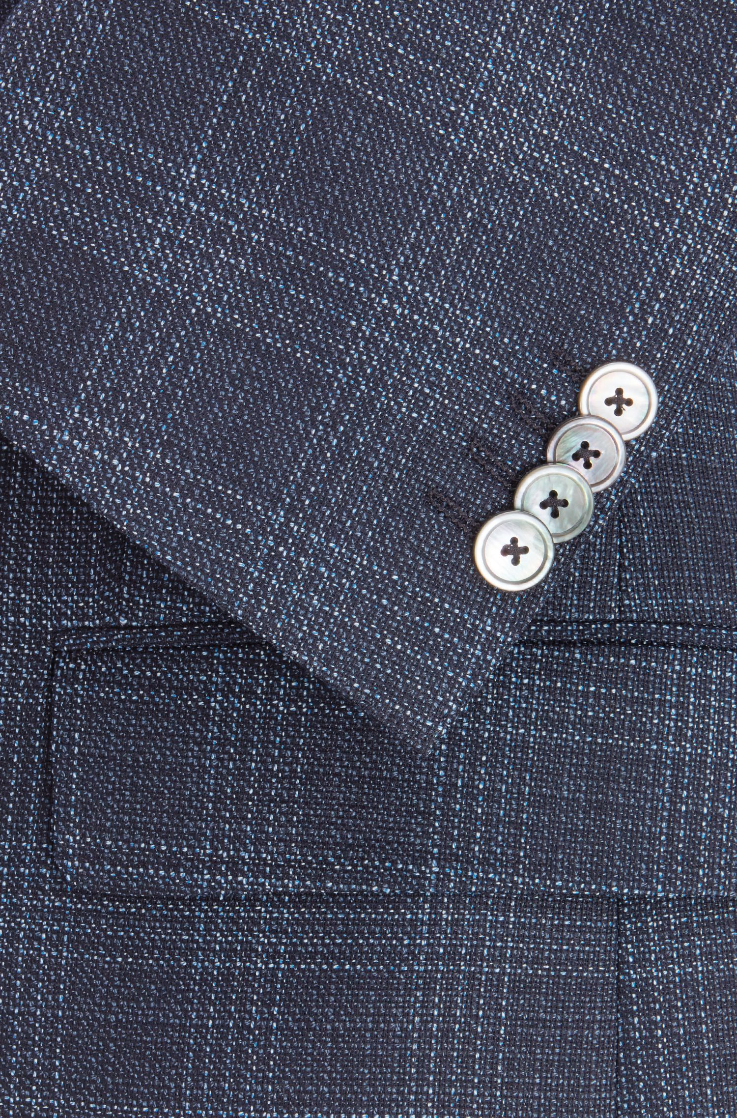 Slim-fit blazer in checked virgin wool, Light Blue