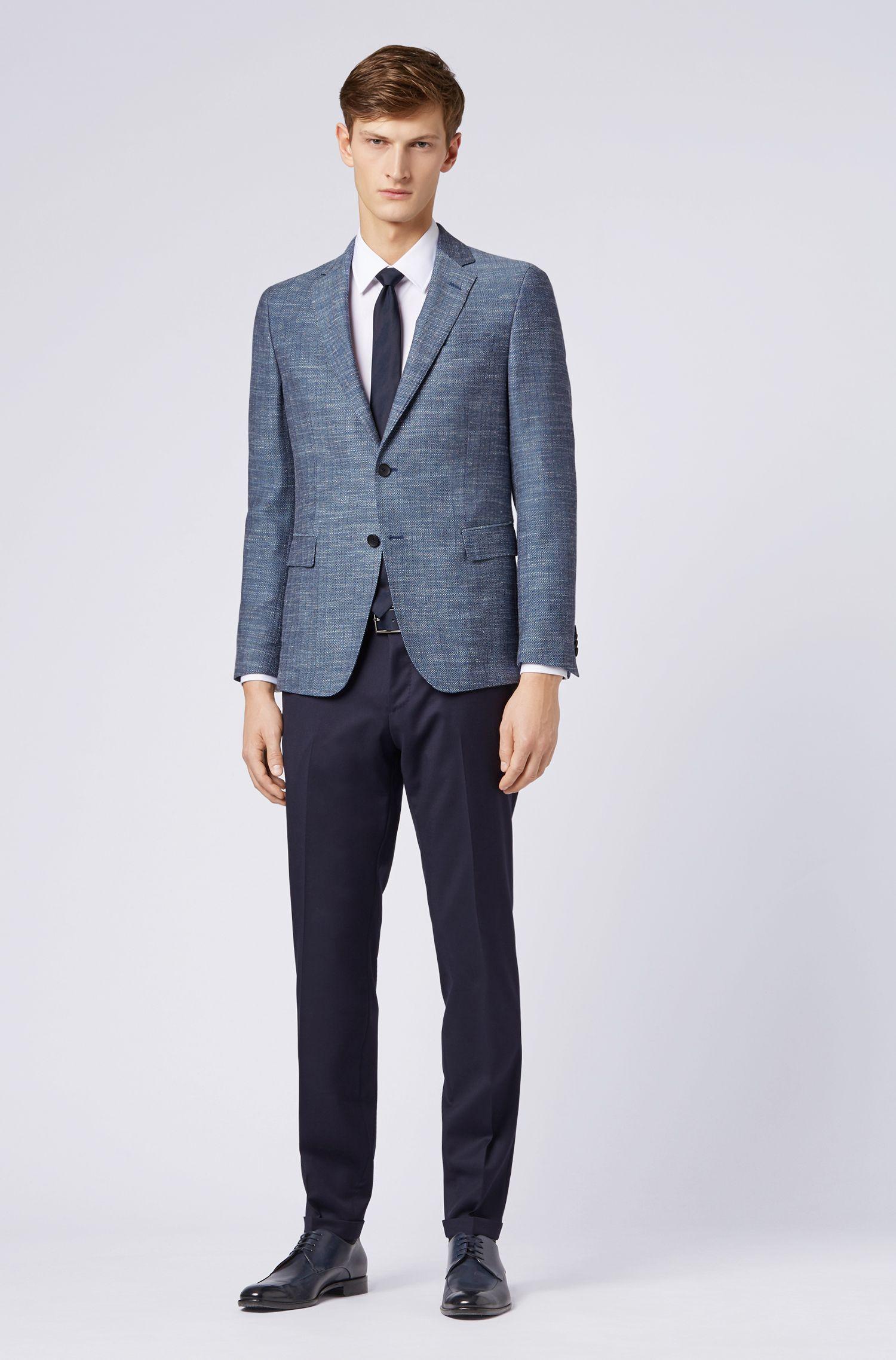 Slim-fit jacket in a herringbone virgin-wool blend, Open Blue