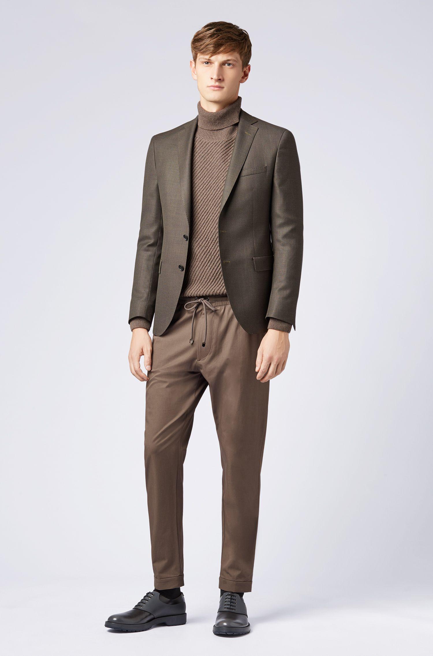 Extra-slim-fit virgin-wool blazer with micro pattern, Open Grey