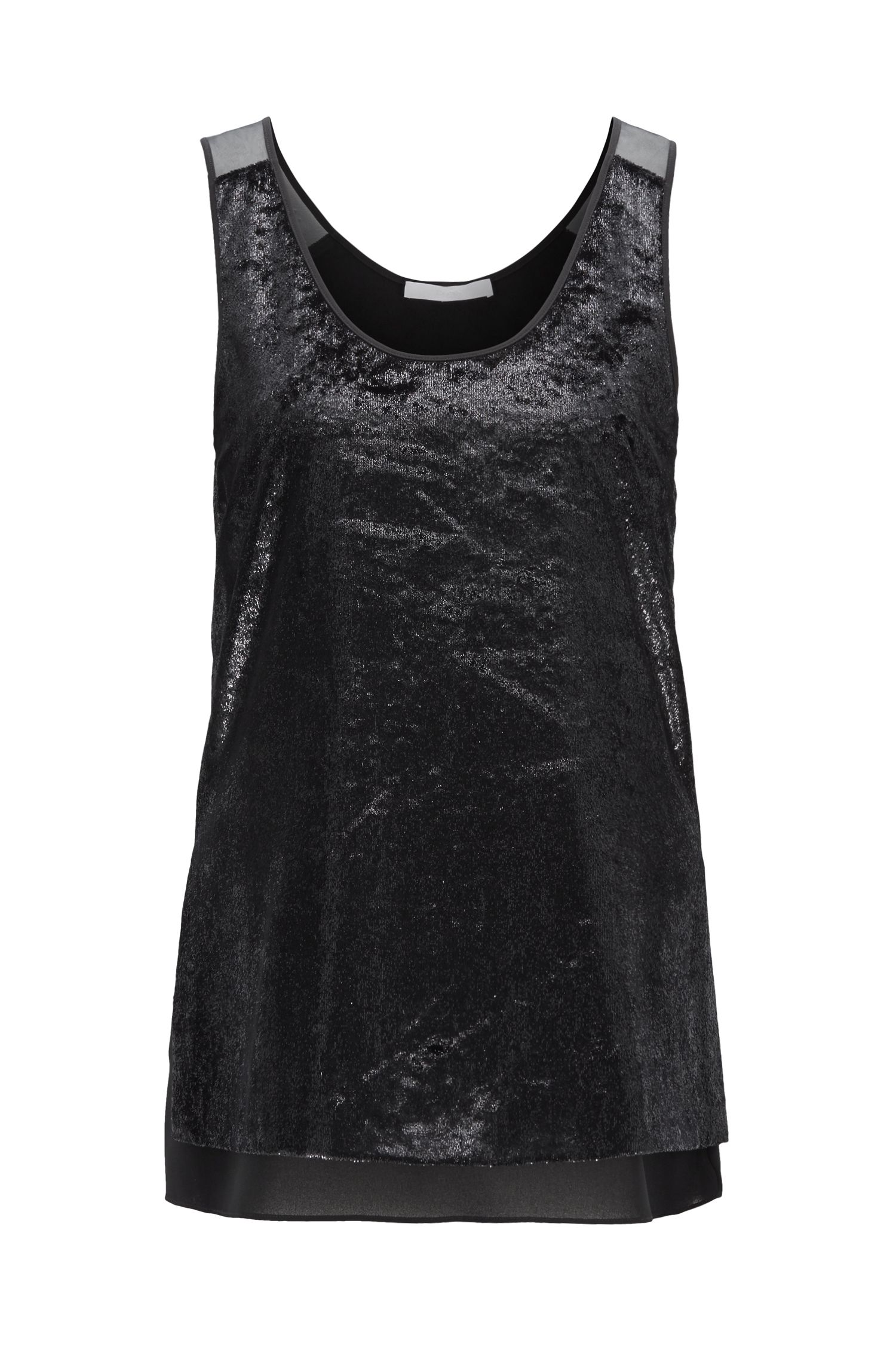 Sleeveless tank top in Japanese velvet with organza inserts, Black