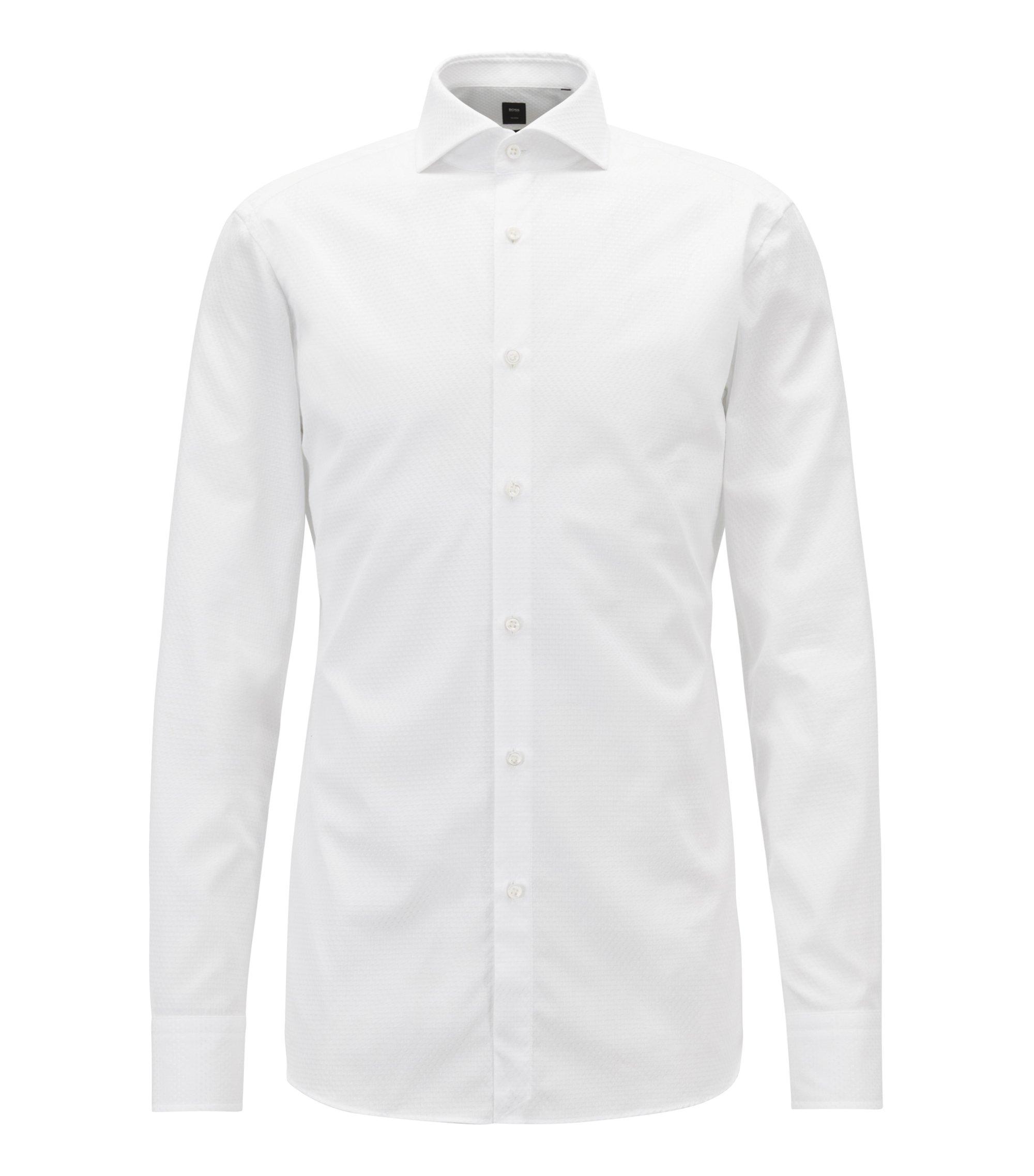 Slim-fit shirt with square motif on cotton jacquard, White