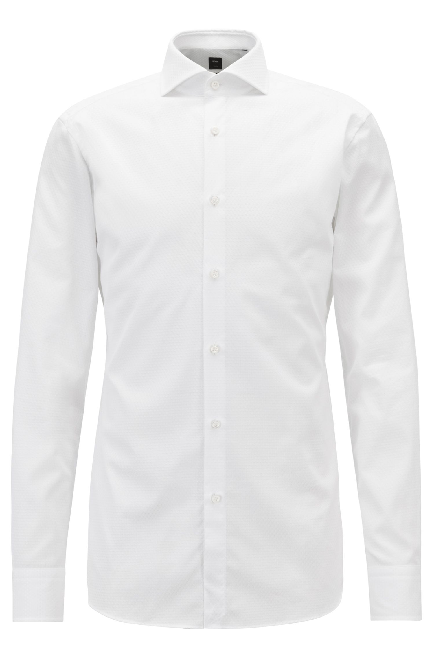 Slim-fit shirt with square motif on cotton jacquard, White