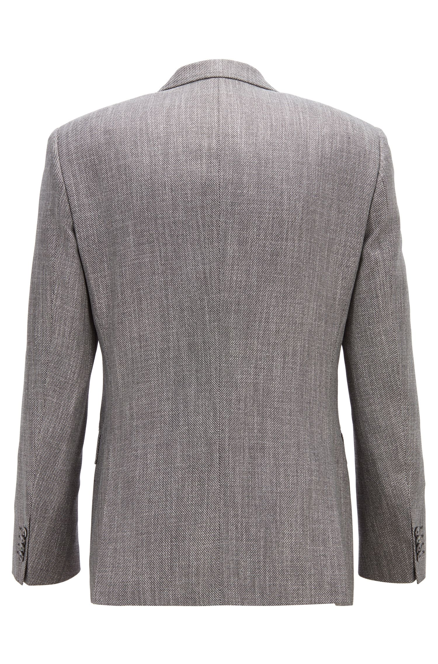 Slim-fit blazer in a patterned virgin-wool blend, Silver