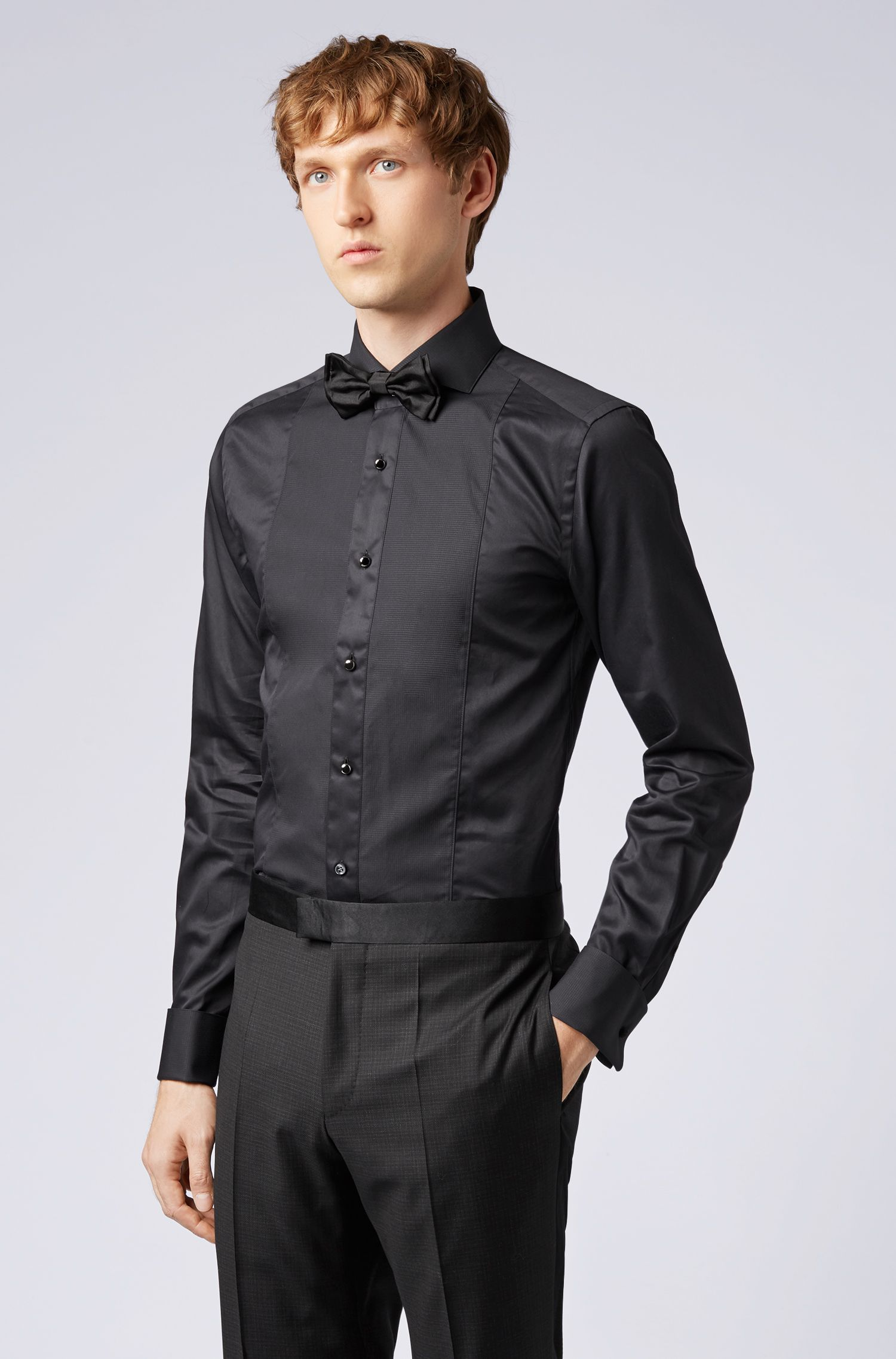 Tailored slim-fit shirt with textured front panel, Black