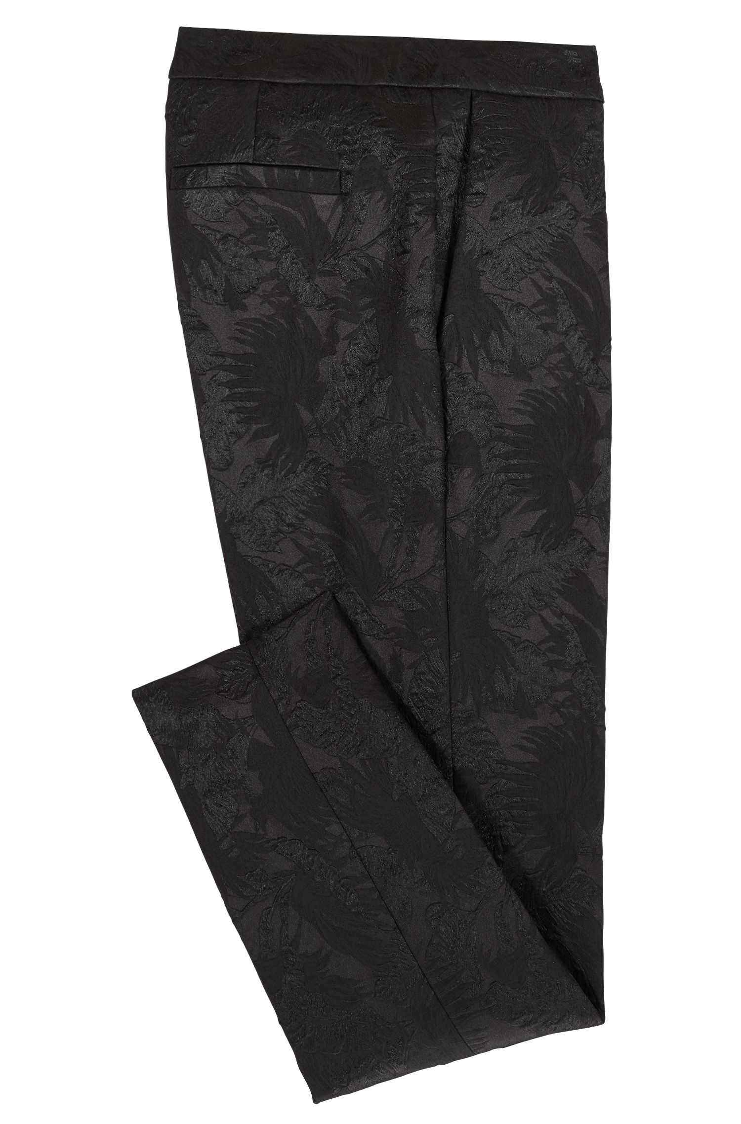 Regular-fit cropped pants in Italian floral jacquard, Black