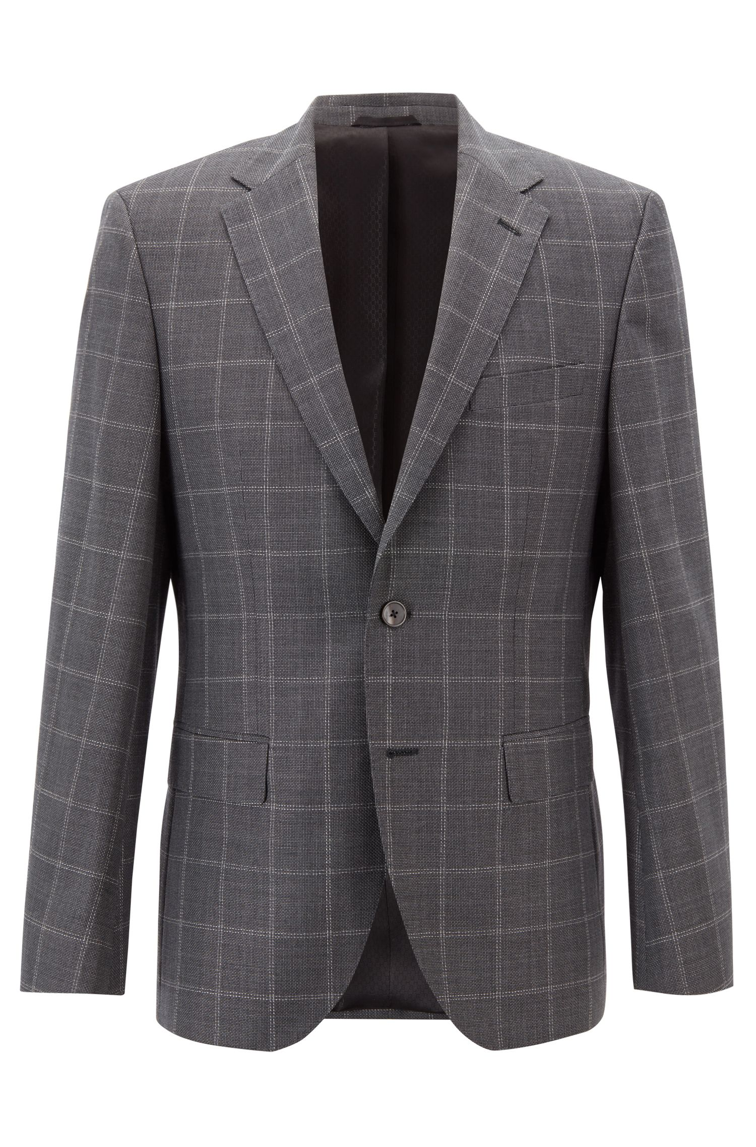Regular-fit jacket in checkered wool with monogram detailing, Silver