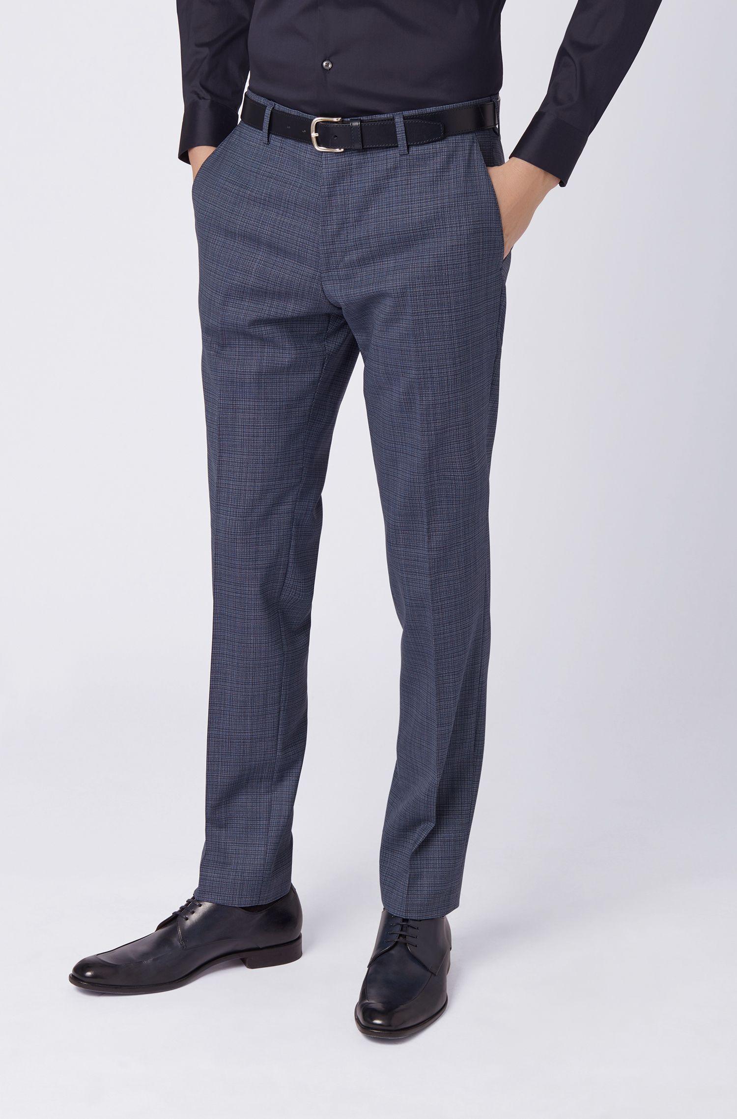 Slim-fit pants in melange virgin wool, Open Blue