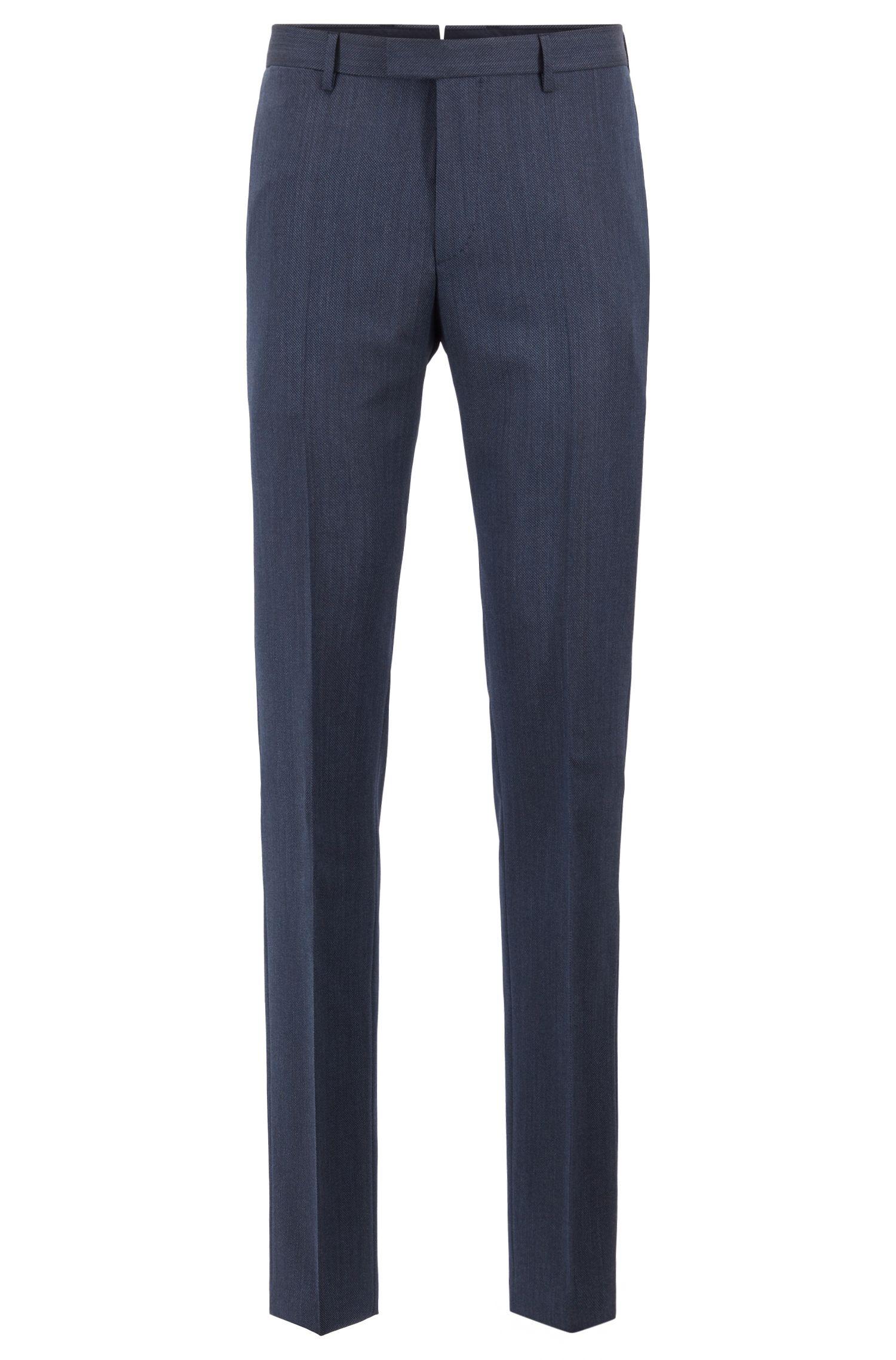 Tailored slim-fit trousers in melange virgin wool, Open Blue