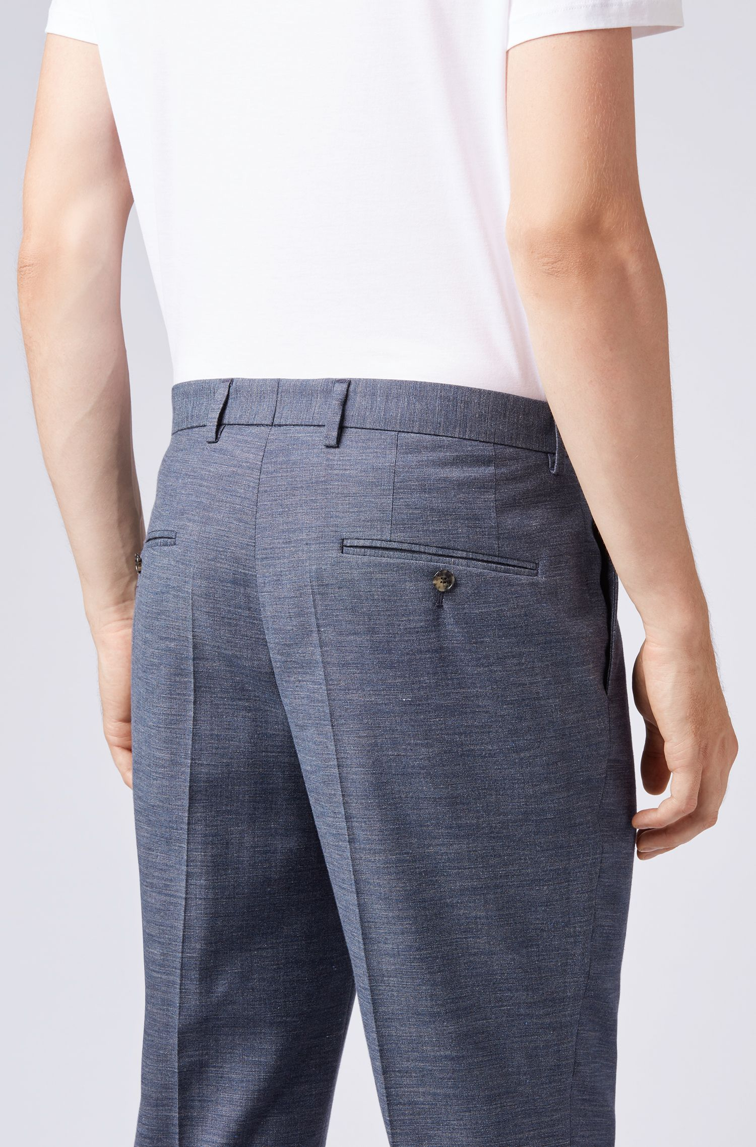 Relaxed-fit cropped pants in a virgin-wool blend, Open Blue