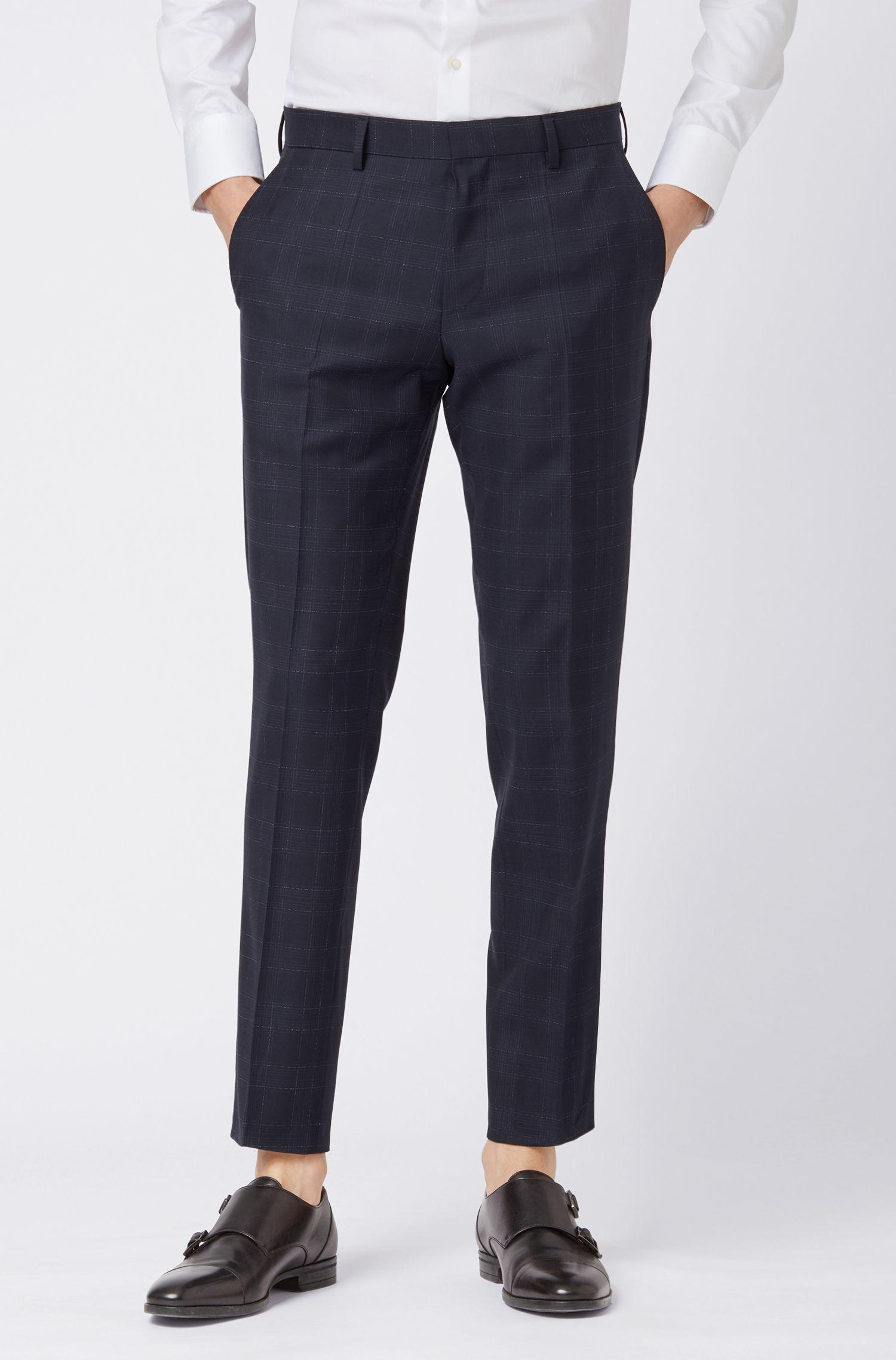 Slim-fit pants in checked virgin wool serge, Dark Blue