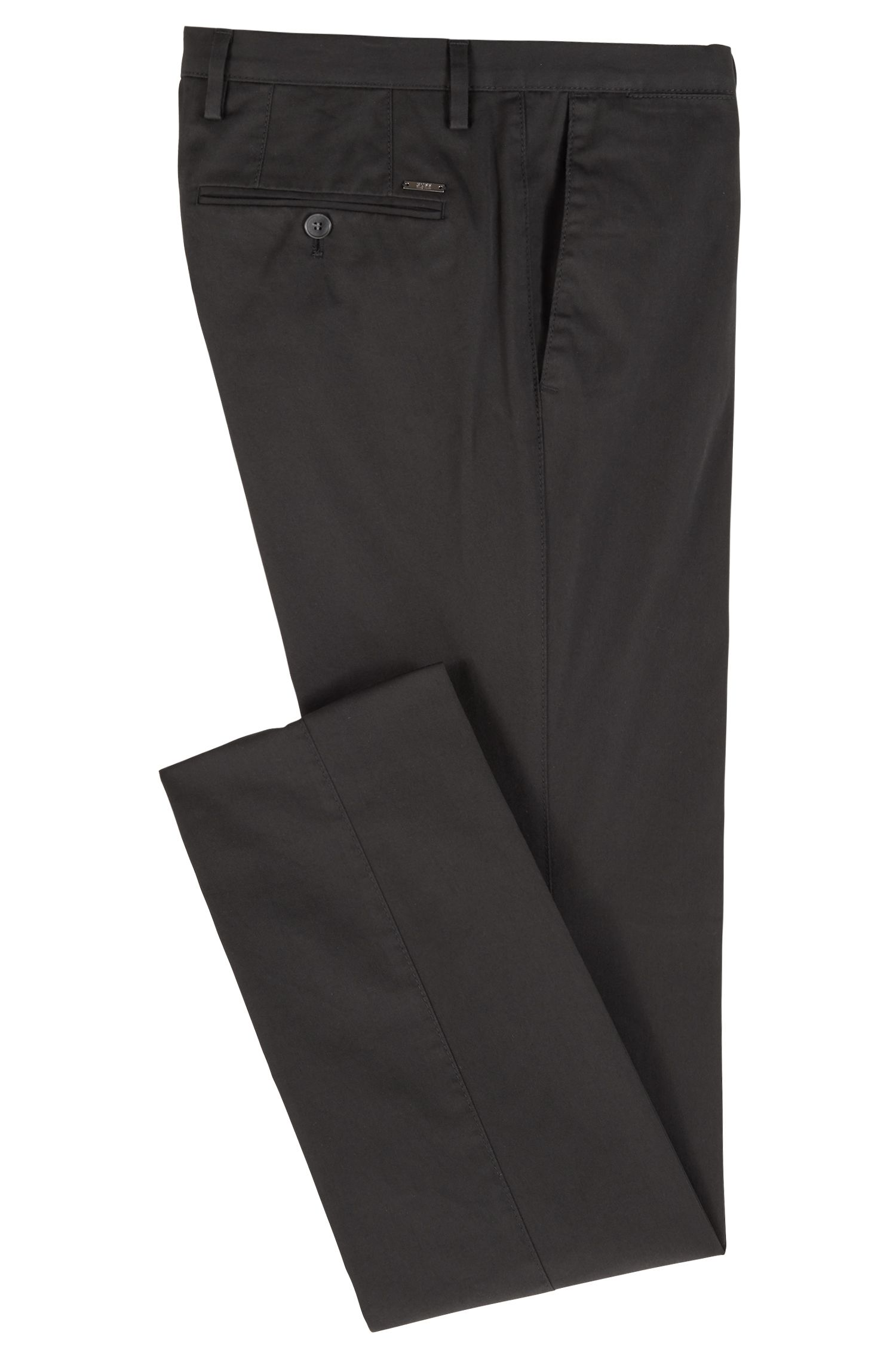 Slim-fit pants in garment-dyed stretch cotton, Black