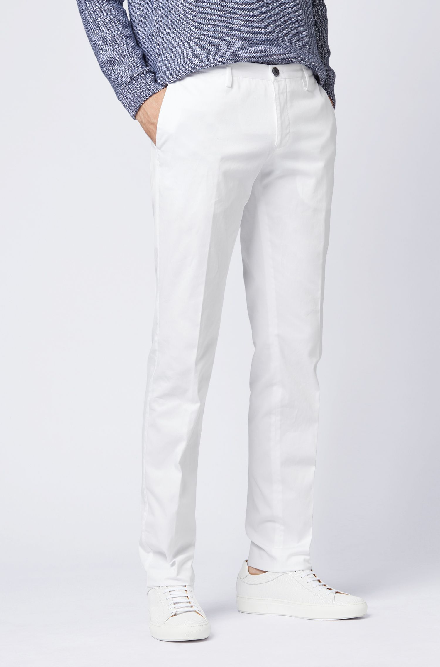 Slim-fit pants in garment-dyed stretch cotton, White