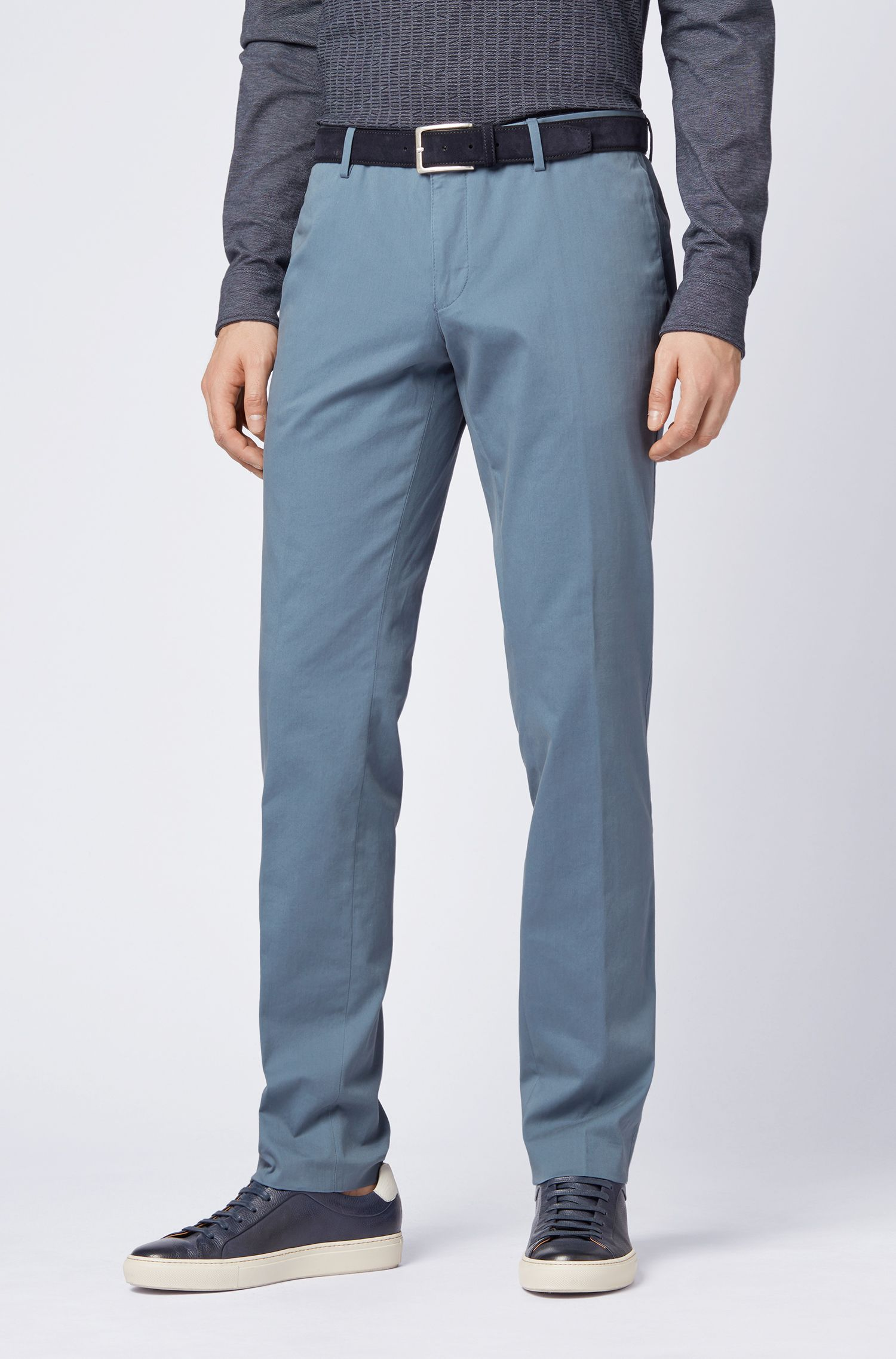 Slim-fit pants in garment-dyed stretch cotton, Open Blue