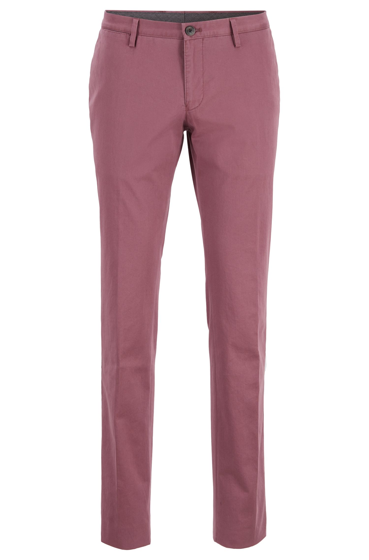 Slim-fit pants in garment-dyed stretch cotton, Open Purple