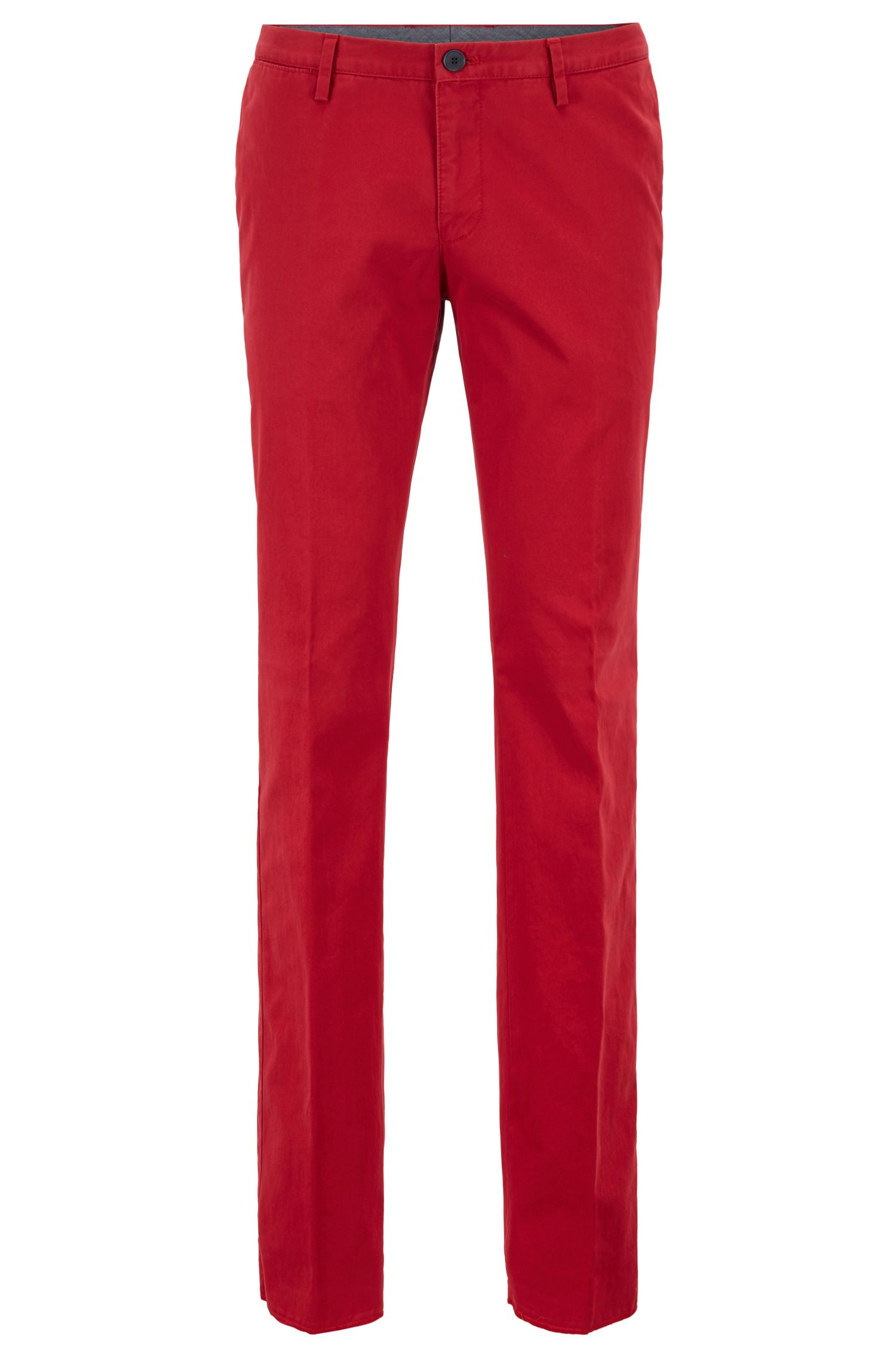 Slim-fit pants in garment-dyed stretch cotton, Red