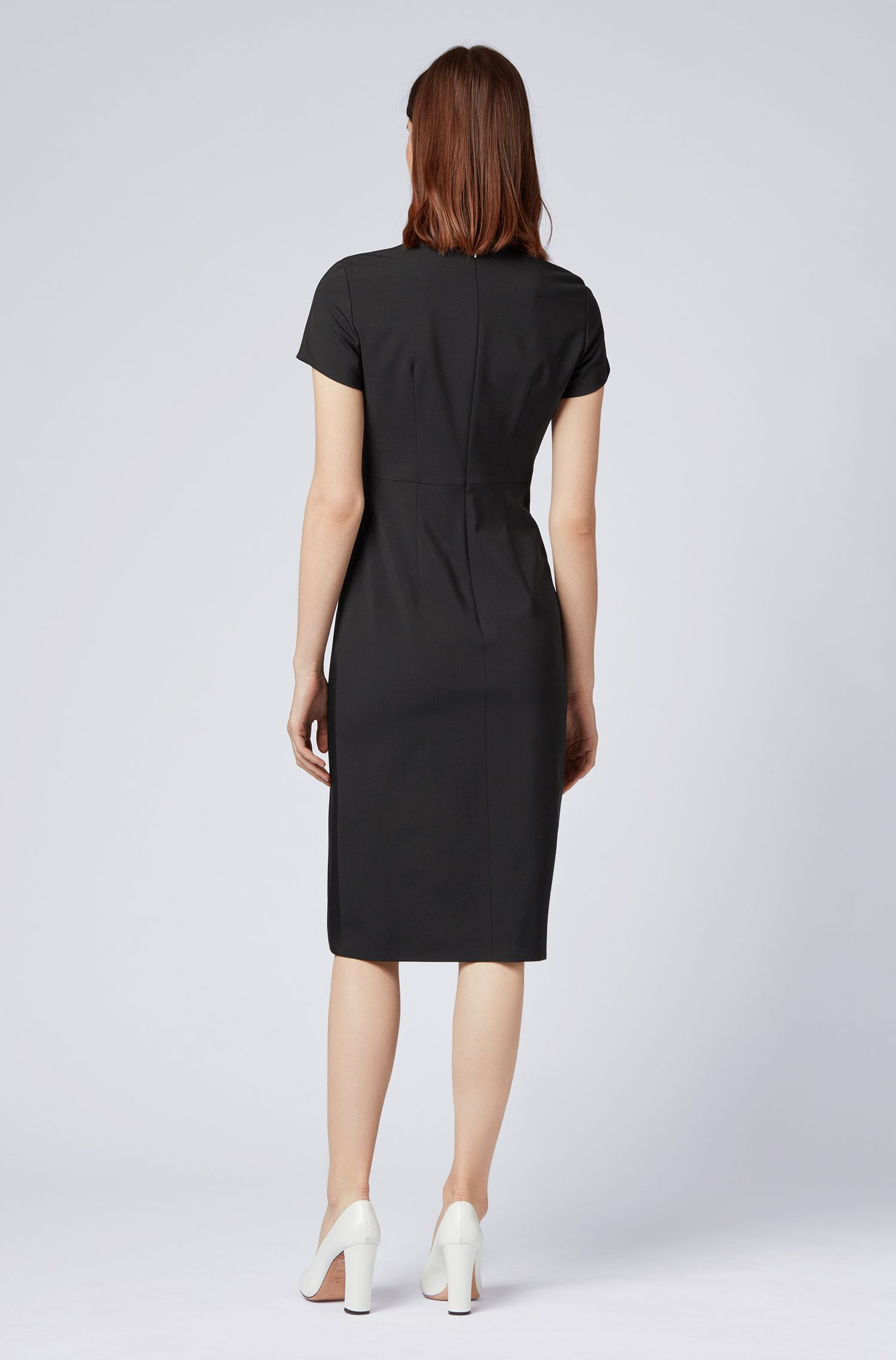 Slim-fit dress in Italian wool with pleated front, Black