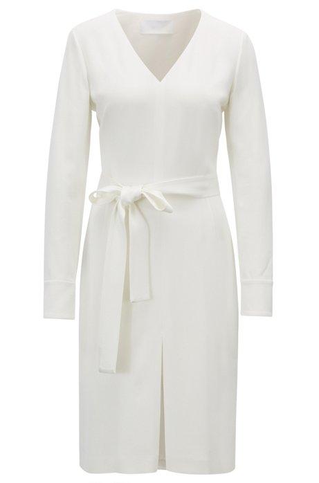 Long-sleeved V-neck dress in satin-back crepe, Natural