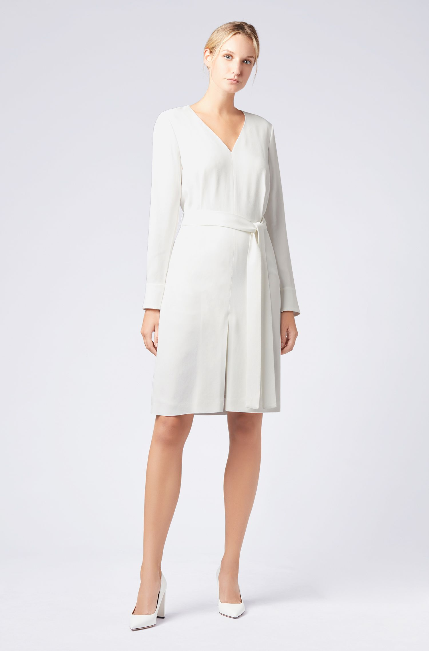 Long-sleeved V-neck dress in satin-back crepe, Natural