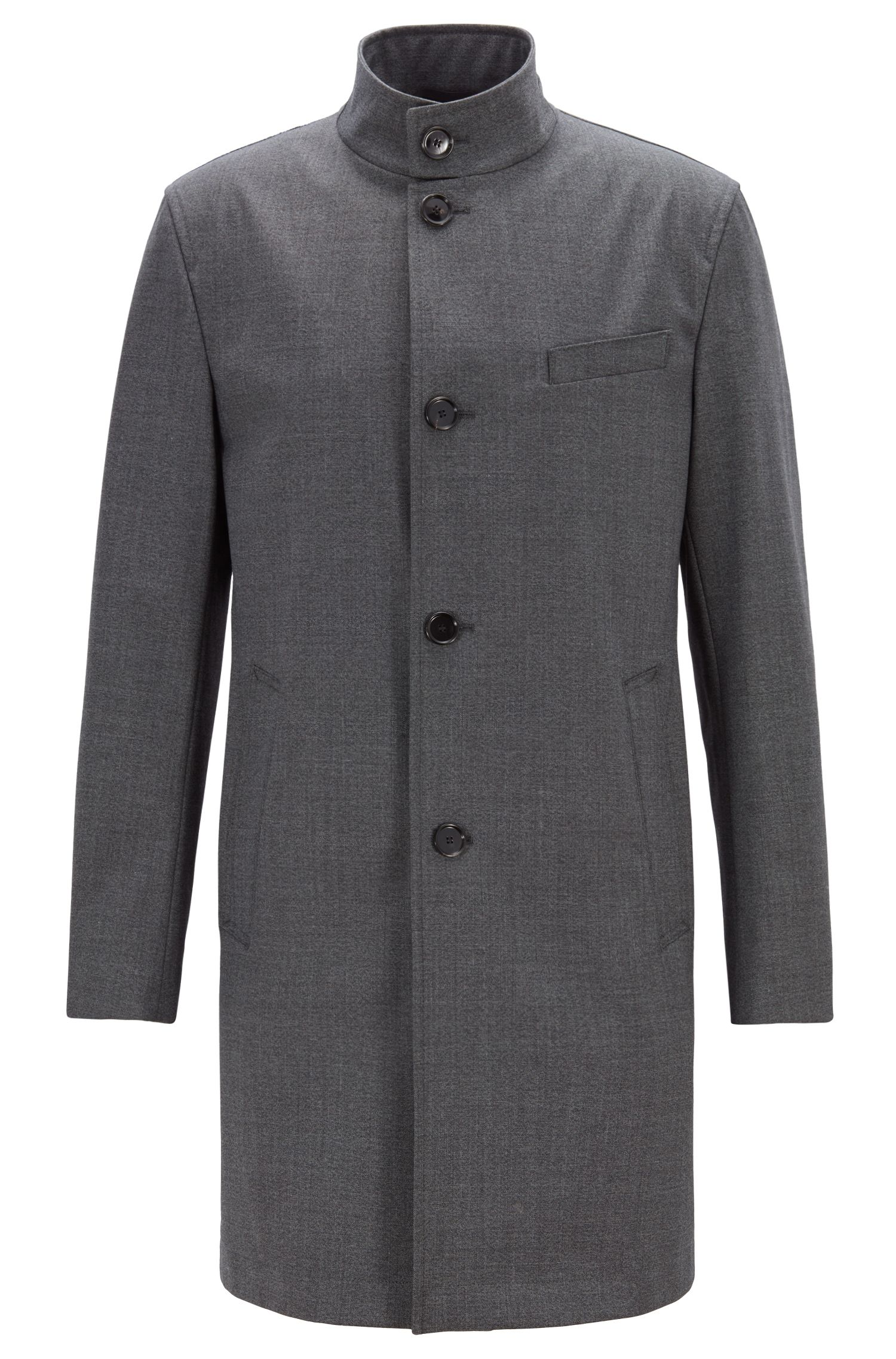 Slim-fit coat in stretch fabric with stand collar, Silver