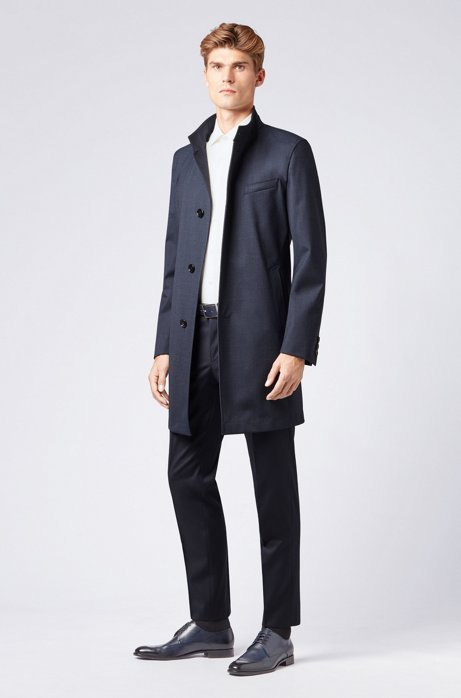 Slim-fit coat in stretch fabric with stand collar, Open Blue