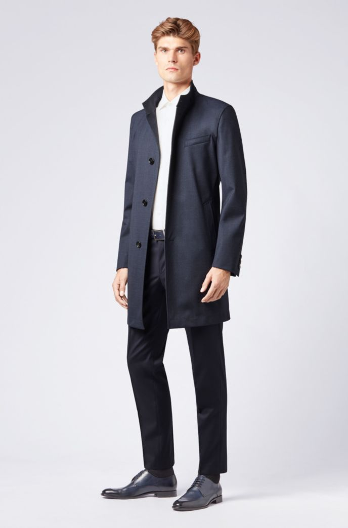Slim-fit coat in stretch fabric with stand collar