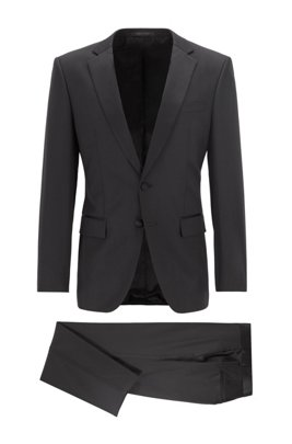 Slim-fit tuxedo in virgin wool with silk trims, Black