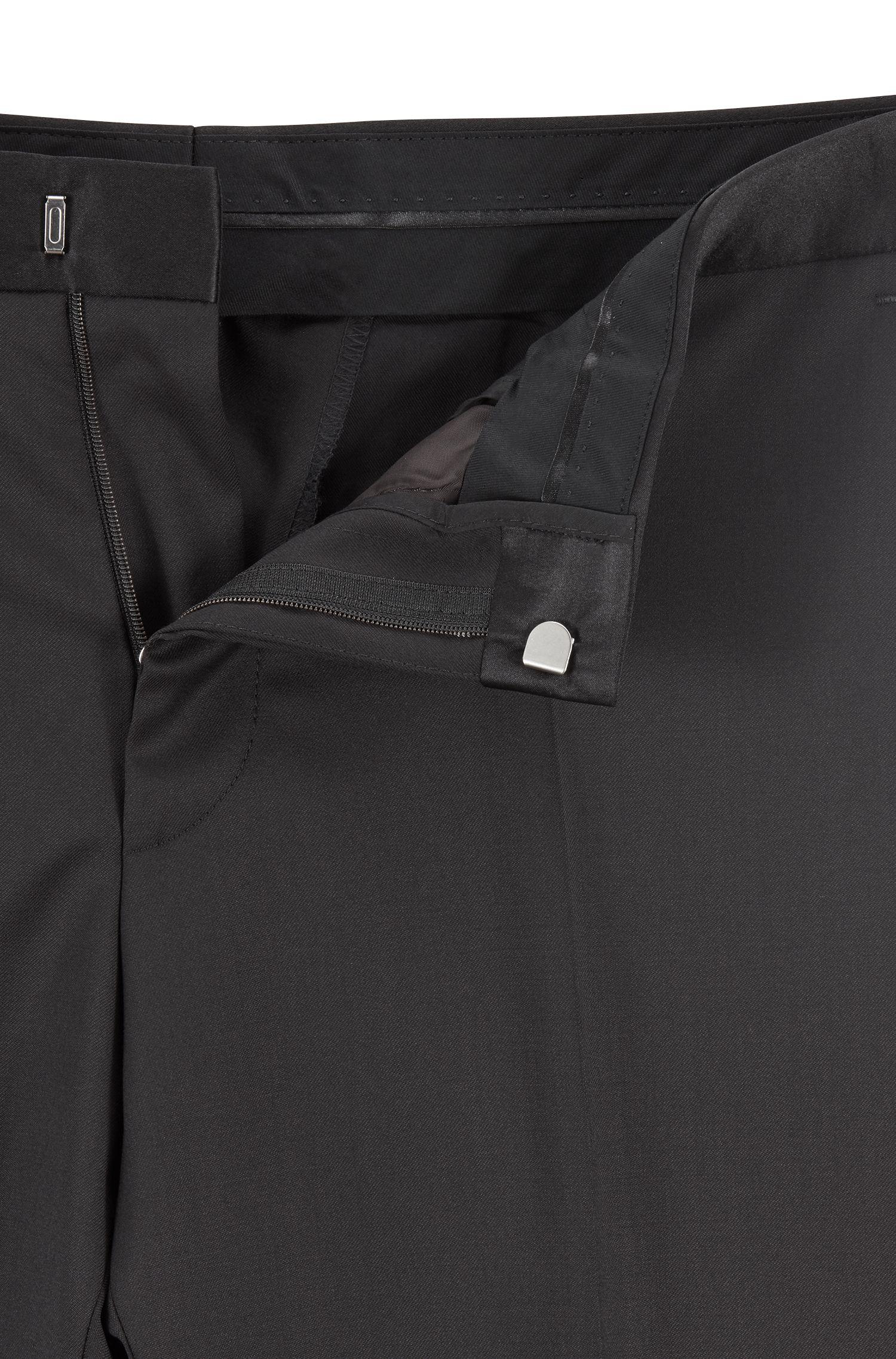 Slim-fit tuxedo in virgin wool with silk trims, Black