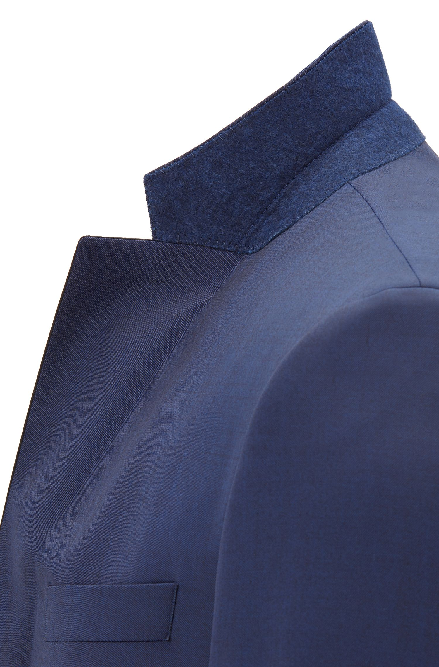 Slim-fit tuxedo in virgin wool with silk trims, Dark Blue