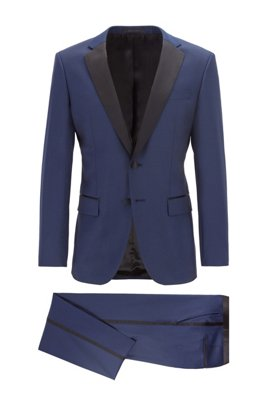 Slim-fit tuxedo in virgin wool with silk trims, Dark Blue