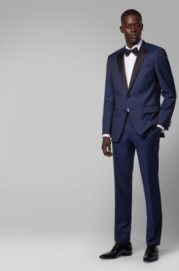 Slim-fit tuxedo in virgin wool with silk trims