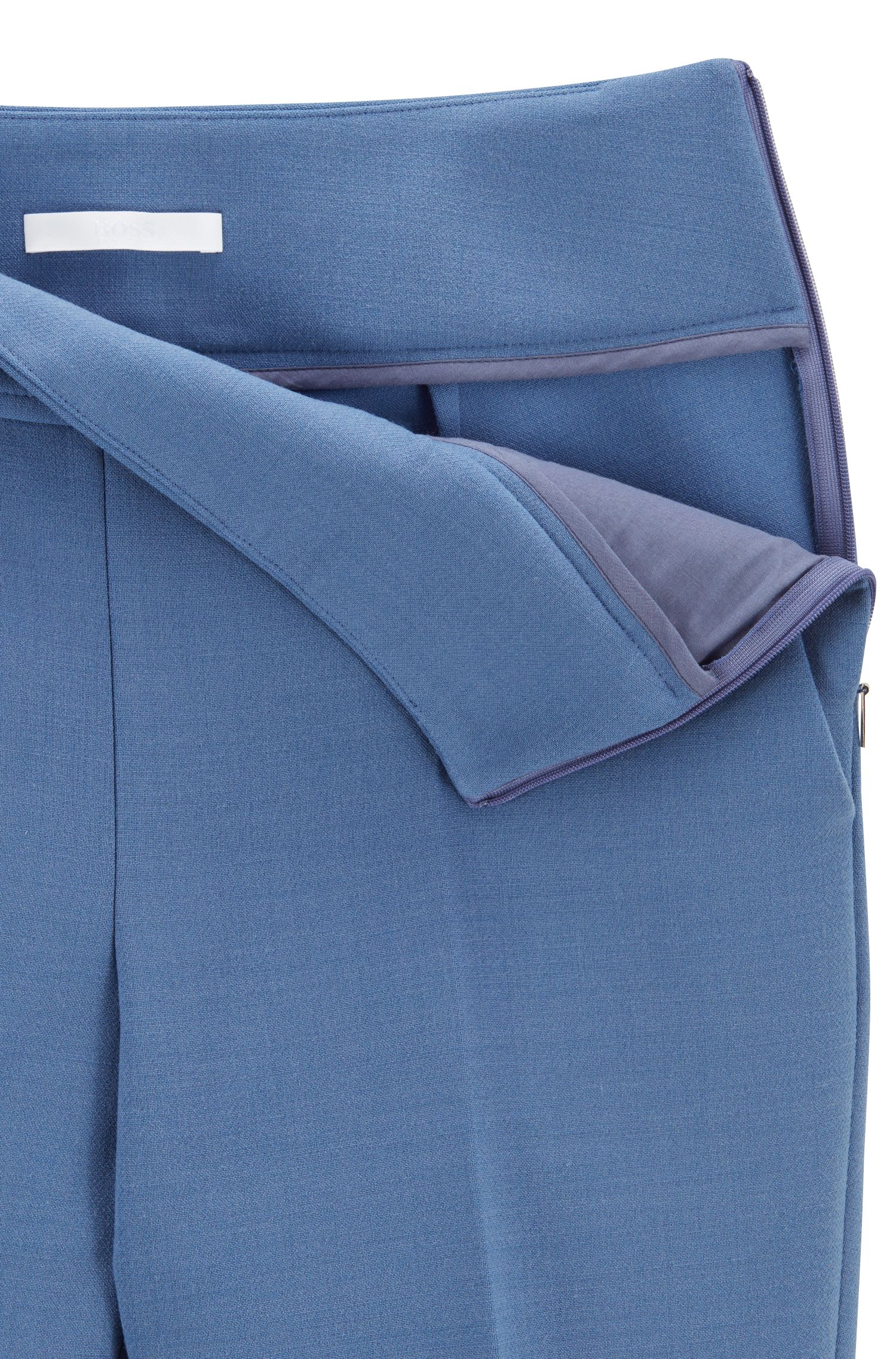 High-waisted cropped pants in Italian stretch fabric, Blue