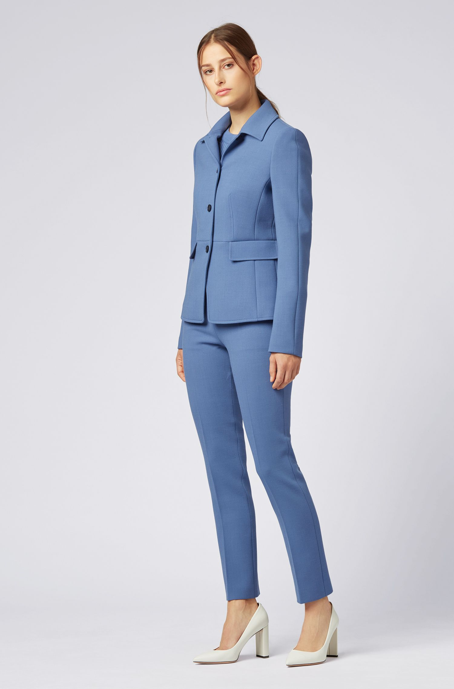 Slim-fit jacket in Italian double-weave stretch fabric, Blue