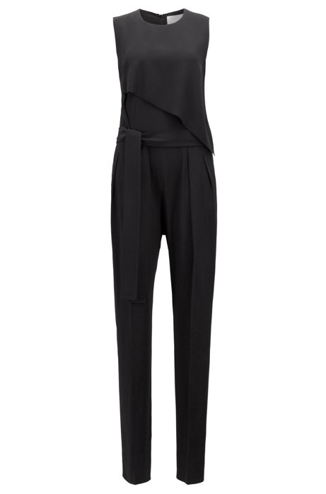 808a48e5b97 BOSS - Tuxedo-style jumpsuit in satin-back crepe